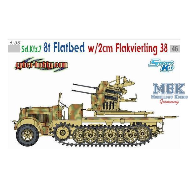 sd kfz 7 8t halftrack flatbed w 2cm flak 38 cyber hobby exclusive. Black Bedroom Furniture Sets. Home Design Ideas