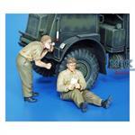 British Soldiers, WWII - Shaving & Resting