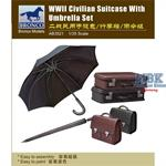 WWII Civilian Suitcase with Umbrella Set