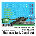 WWII US army M4 Tank company decal set