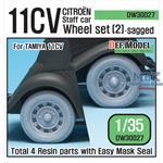 WW2 11CV Staff car sagged wheel set #2