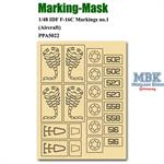 Marking Mask for 1/48 IDF F-16C Markings no.1