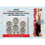 Damaged Leopard 1 Road wheels, idlers and rollers