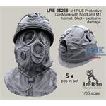 M17 US GasMask M1 helmet - bullet shoot damage
