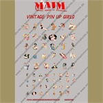 Vintage Pin-Up Girls Poster Decal Set