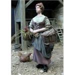 Bäuerin mit 2 Körben und einem Huhn 1:35