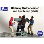 4 US Navy Ordnancemen and Bomb Cart (WW II)