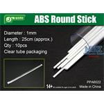 ABS Round Stick Ø 1mm,  25 cm Länge Rundprofil 10x