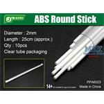 ABS Round Stick Ø 2mm,  25 cm Länge Rundprofil 10x