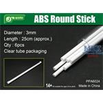 ABS Round Stick Ø 3mm,  25 cm Länge Rundprofil 6x