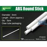 ABS Round Stick Ø 5mm,  25 cm Länge Rundprofil 3x