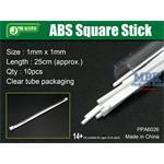 ABS Square Stick 1x1mm, 25 cm Länge Vierkantprofil