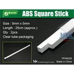 ABS Square Stick 5x5mm, 25 cm Länge Vierkantprofil