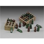 Wine bottles with crates