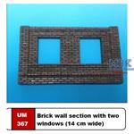 Brick wall section with two windows