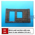 Brick wall section with one door & one window