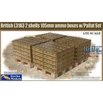 British L31A3 2 shells 105mm ammo boxes & Pallet