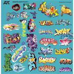 ASSORTED GRAFFITI DECALS