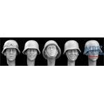 5 Heads German WW2 Steel  Helmets
