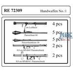 Handfeuerwaffen Set 1 / Hand weapons set  1   1/72
