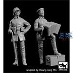 German Soldier w/ Accordian + Officer WWI