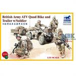 British Army ATV Quad Bike & Trailer & Figures