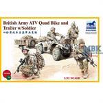 British Army ATV Quad Bike & Trailer & Figures
