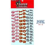 Race Car Numbers Decal Sheet (1/25 or 1/24)