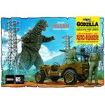 Army Willys MB Jeep + Godzilla Papp-Hintergrund