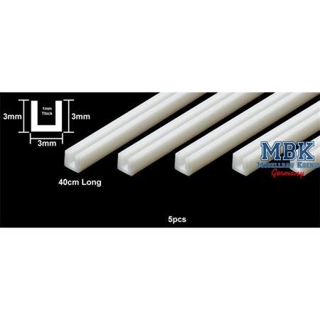 U-Profil 3x3mm 400mm weiß, 5 Stück