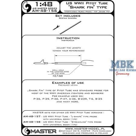 "US WWII Pitot Tube - ""Shark-fin"" type probe"