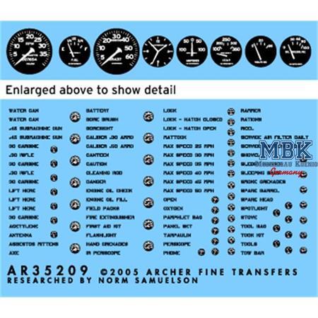 US Fahrzeuge Innenraum Beschrift+Instrum. schwarz