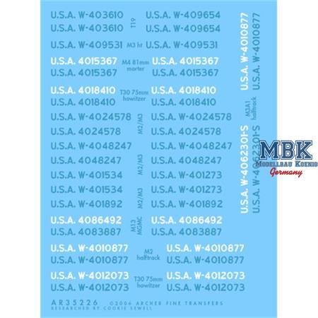 M2/M3 U.S. Fahrzeugregistriercodes