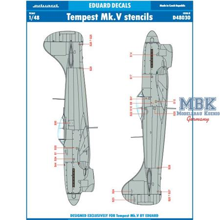 Hawker Tempest Mk.V stencils 1/48