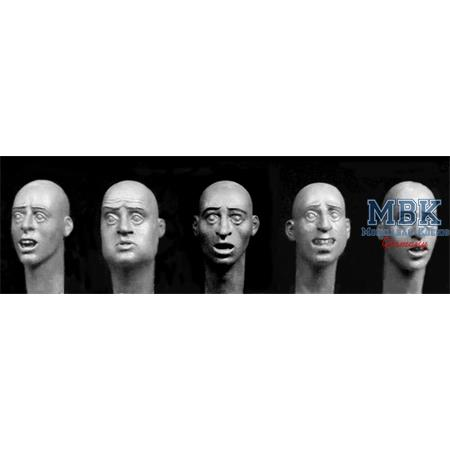 5 heads with various Scared European faces 1/32