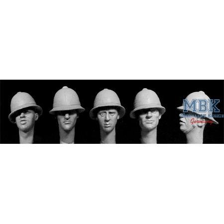 5 heads, Brit. WW1 Brodie steel helmets