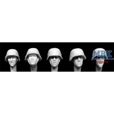 5 Heads German WW2 covered Helmets