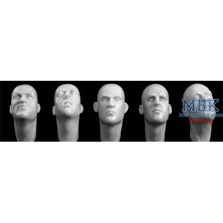 5 different Heads, looking up or stretched out