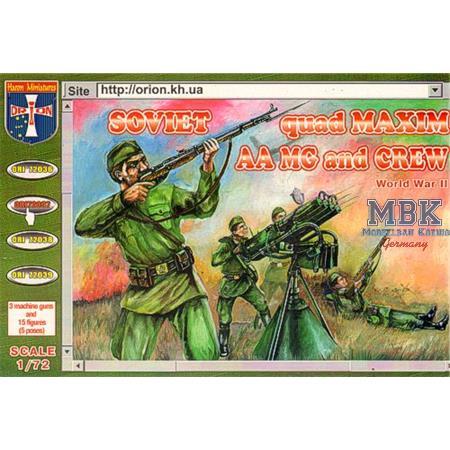 Soviet quad Maxim Machine Gun and 5 crew figures