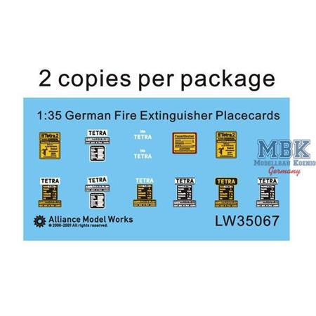 WWII German Fire Extinguisher Placecards