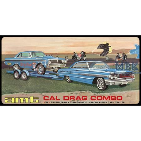 CAL Drag Combo 1964 Galaxie, AWB Falcon & Trailer