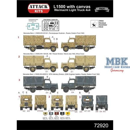 Mercedes L1500 w/ Canvas 4x4 light Truck    1/72