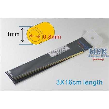 Precision Brass Tubing 1mm OD 0.8mm ID 0.1mm Unifo