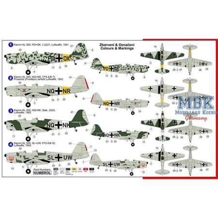 Klemm Kl-35D 'Luftwaffe 4 Decal Varianten