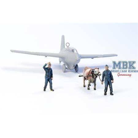 Ox towing a Me 163B w/2 Luftwaffe Ground Crew