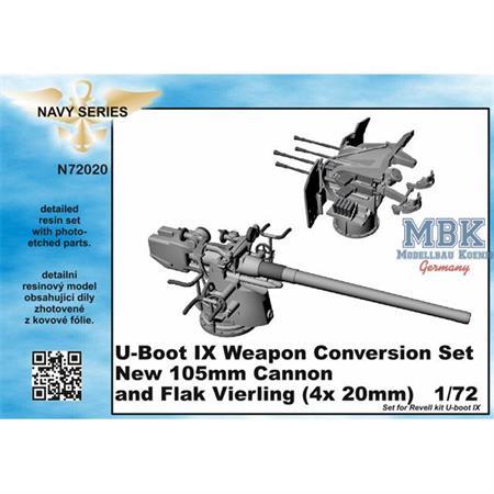 U-Boot IX C Weapon Set 10,5 Cannon + Flak Vierling