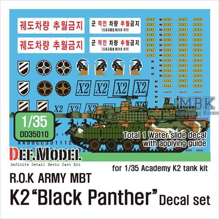ROK MBT K2 Black Panther decal set