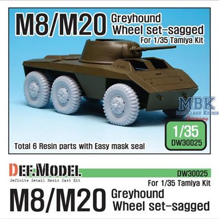 WW2 U.S. M8/M20 Greyhound Sagged Wheel set