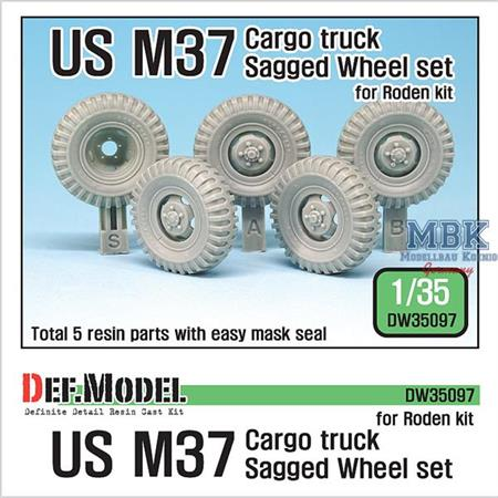 US M37 Cargo Truck Sagged Wheel set (Roden)