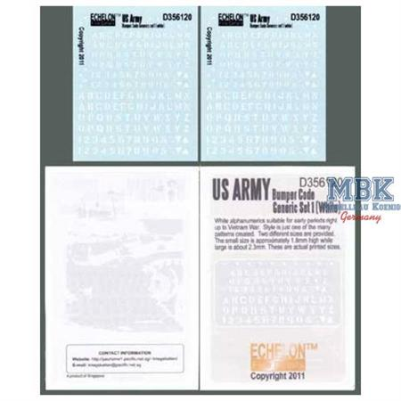 US Army Bumper Codes Generic Set 1 (white)